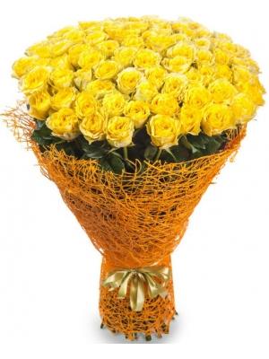 Букет цветов из желтых роз №7 (101 шт.) с доставкой.