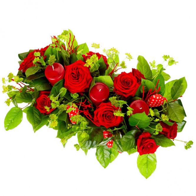 Букет-корзина из красных роз №14
