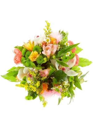 Букет-корзина из розовых роз, хризантемы, альстромерии и орхидеи, а также ромашек №16