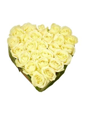 Букет-сердце из белых роз №3 (25 шт.)