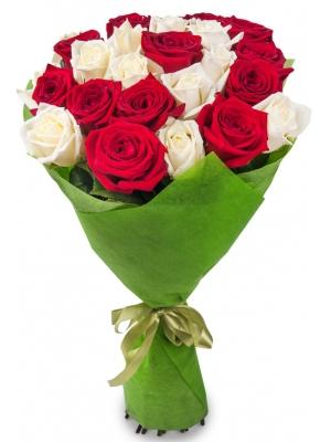 Букет цветов из белых и красных роз №1 (25 шт.) с доставкой.