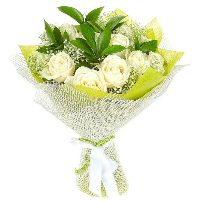 Букет цветов из белых роз №13 (15 шт.) с доставкой.