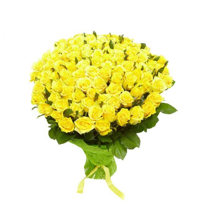 Букет цветов из желтых роз №37 (101 шт.) с доставкой.