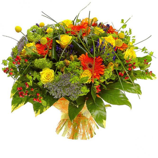 Букет цветов из желтых альстромерий и роз, рыжих гербер и агапантуса №39 с доставкой.