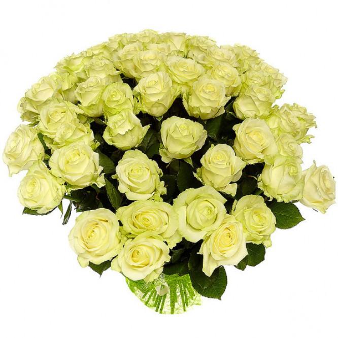 Букет цветов из белых роз №14 (51 шт.) с доставкой.