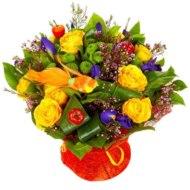 Букет цветов из зеленой хризантемы, желтых роз и синих ирисов №41 с доставкой.