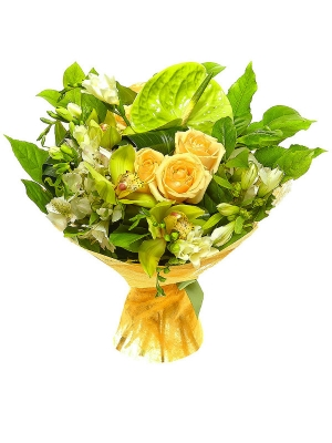 Букет цветов из желтой альстромерии, зеленой орхидеи, кремовых роз и белой фрезии №49 с доставкой.