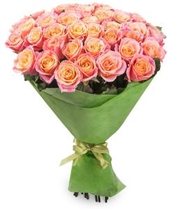 Букет цветов из кремовых роз №3 (45 шт.) с доставкой.