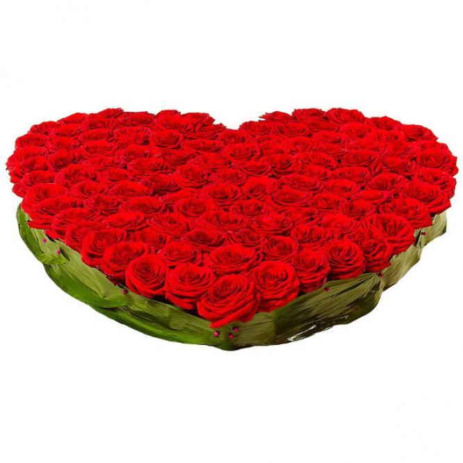 Букет-корзина из красных роз (151 шт.) и аспидистр №26