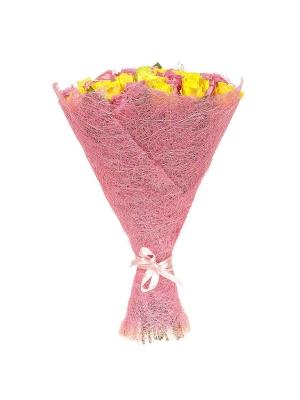 Букет цветов из желтых и розовых роз №55 (51 шт.) с доставкой.