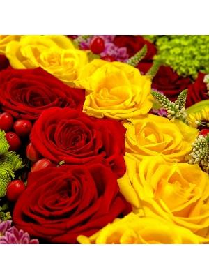 Букет-мишка из разноцветной хризантемы, красных и желтых роз и зеленой орхидеи №28