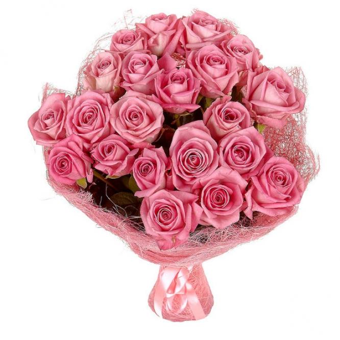 Букет цветов из розовых роз №7 (21 шт.) с доставкой.