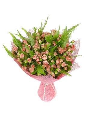 Букет цветов из розовых кустовых роз (35 шт.) и амбрелл №62 с доставкой.