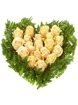 Букет-сердце из кремовых роз (19 шт.) и папоротника №31