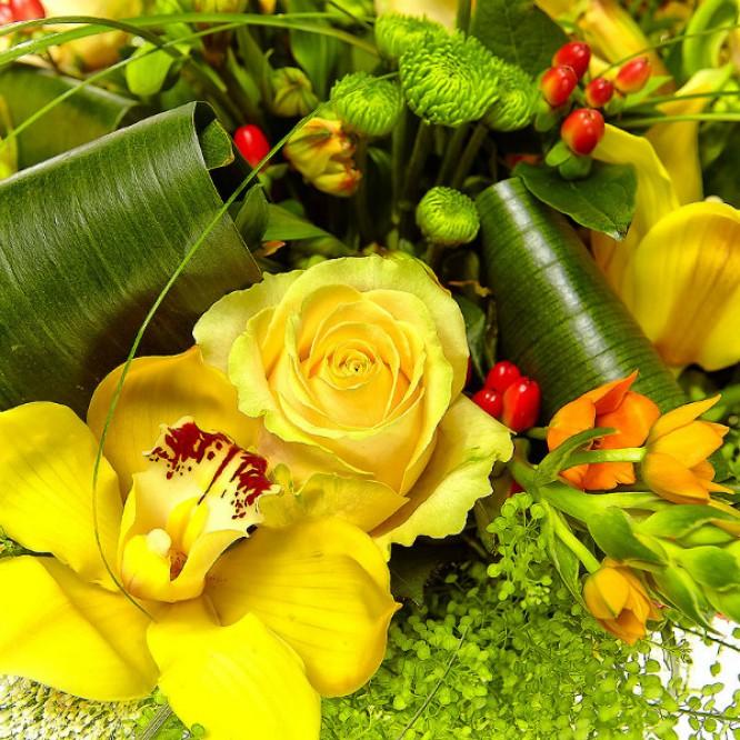 Букет цветов из желтой альстромерии, зеленой хризантемы, кремовых роз, желтой орхидеи и теласпий №72 с доставкой.