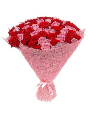 Букет цветов из розовых и красных роз (101 шт.) №80 с доставкой.