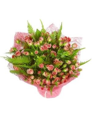 Букет цветов из розовых кустовых роз (25 штук), салала и амбрелл №61 с доставкой.