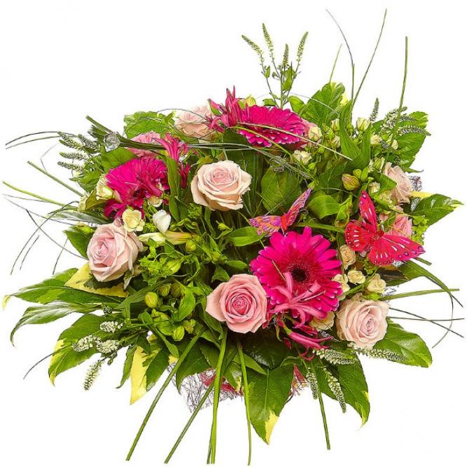 Букет цветов из белой альстромерии, розовых и кремовых роз, малиновой герберы и белой вероники №87 с доставкой.