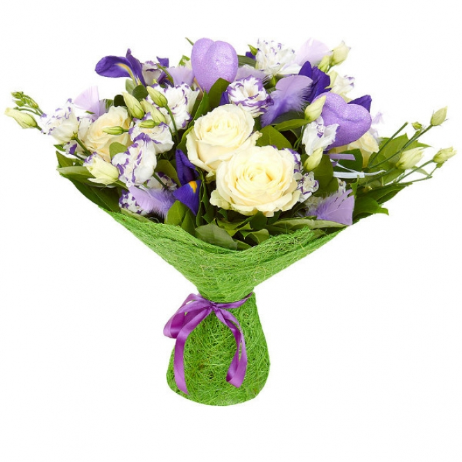Букет цветов из голубого лизиантуса, синего ириса, белых роз, аспидистр и салала №91 с доставкой.