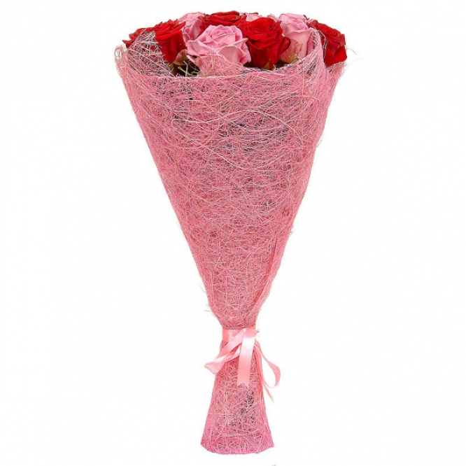 Букет цветов из красных и розовых роз (21 шт.) №11 с доставкой.