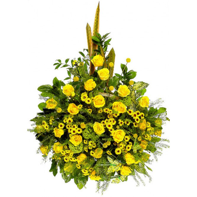 Букет цветов из желтых роз, хризантемы, краспедии, теласпий, рускуса и амбреллы №93 с доставкой.