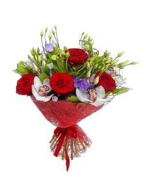 Букет цветов из красных роз, белой альстромерии, голубого лизиантуса, салала и белой орхидеи №95 с доставкой.
