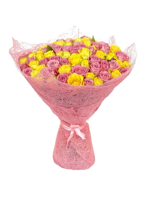 Букет цветов из розовый и желтых роз (101 шт.) №97 с доставкой.