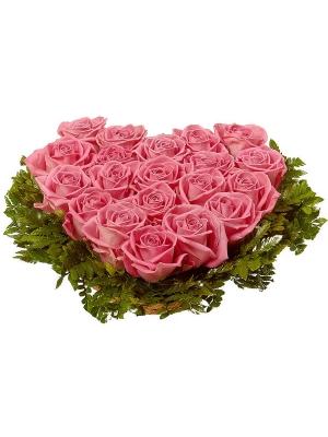 Букет-сердце из розовых роз (19 шт.) и папоротника №6