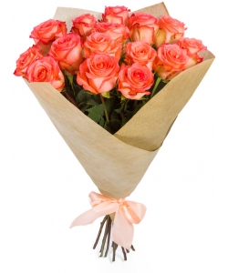 Букет цветов из розовых роз (15 штук, 70 сантиметров) №100 с доставкой.