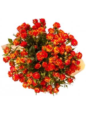 """Букет цветов из кустовых роз """"Фаер Флеш"""" (17 шт.) №102 с доставкой."""