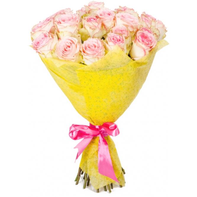 """Букет цветов из нежно-кремовых роз """"Эсперанс"""" (23 шт.) №103 с доставкой."""