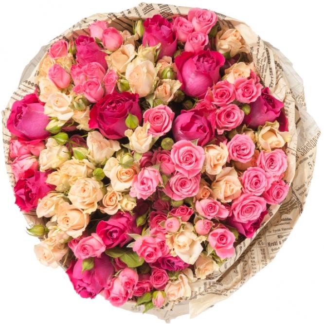 """Букет цветов из разноцветных кустовых роз """"Пиано Фриленд"""" и """"Мими Эден"""" (27 шт.)  №106 с доставкой."""