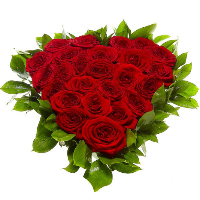 Букет-сердце из красных роз №6 (25 шт.)