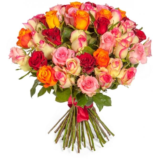 Букет цветов из разноцветных роз (51 шт.) №110 с доставкой.