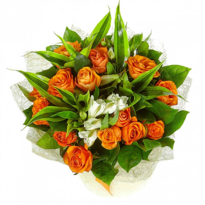Букет цветов из рыжих роз (15 шт.) и белой альстомерии №5 с доставкой.