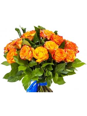 Букет цветов из оранжевых роз (21 шт.), салала и аспидистр №127 с доставкой.