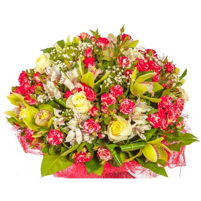 """Букет цветов из кремовых и бело-розовых роз, альстромерии, фрезии и зеленой орхидеи """"Цимбидиум"""" №129 с доставкой."""