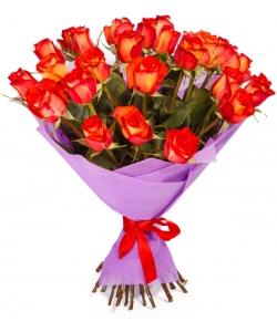 """Букет цветов из огненных роз """"Хай Орандж"""" (19 шт.) №136 с доставкой."""