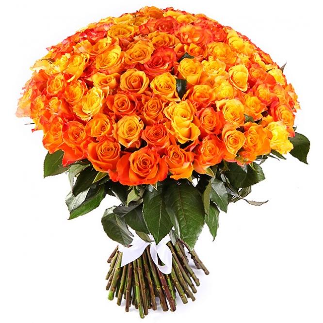 Букет цветов из оранжевых роз (101 шт.) №137 с доставкой.