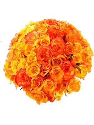 Букет цветов из оранжевых роз (51 шт.) №139 с доставкой.