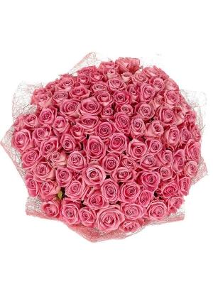 Букет цветов из розовых роз №14 (101 шт.) с доставкой.