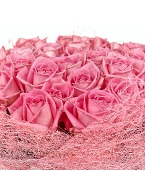 Букет цветов из розовых роз №15 (51 шт.) с доставкой.
