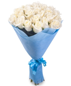Букет цветов из белых роз №1 (25 шт.) с доставкой.