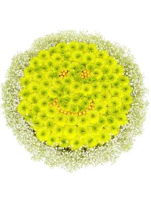 Букет-солнце из желтой хризантемы (15 шт.) и гипсофилы №5