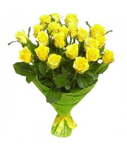 Букет цветов из желтых роз №15 (21 шт.) с доставкой.