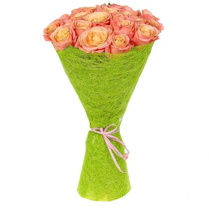Букет цветов из разноцветных роз (25 штук) №15 с доставкой.