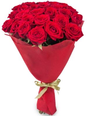 Букет цветов из красных роз №1 (25 шт.) с доставкой.