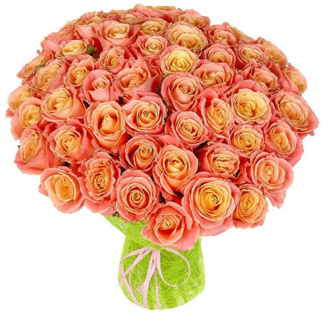 Букет цветов из яркокремовых роз №17 (51 шт.) с доставкой.