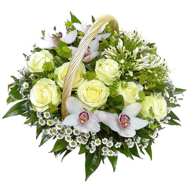 Корзина из белых роз, хризантемы и орхидеи №1