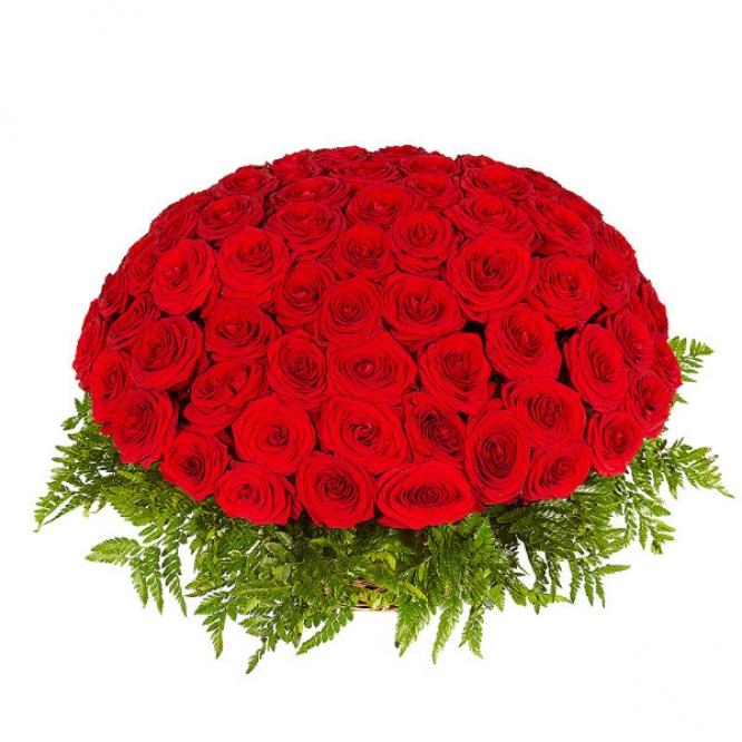Букет-корзина из красных роз №19 (101 шт.)